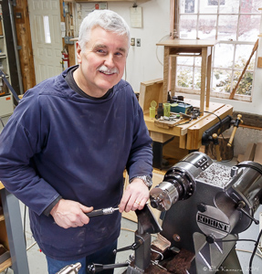 Steven at his Robust American Beauty Lathe