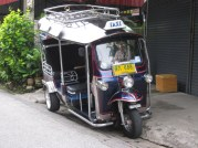 This three wheeled contraption is called a Tuk tuk from the sound it makes