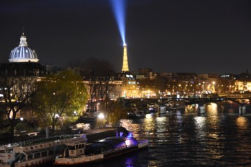 View of the Eiffel Tower from the bridge.