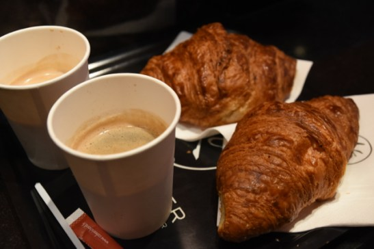 My breakfast. Croissant and coffee for about 2.5€