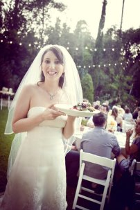 bride eats and happy