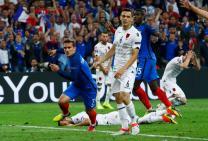 Football Soccer - France v Albania - EURO 2016 - Group A - Stade Vélodrome, Marseille, France - 15/6/16 France's Antoine Griezmann celebrates after scoring their first goal REUTERS/Eddie Keogh Livepic