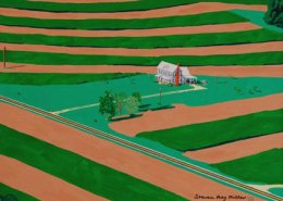 Aerial Farmscape original gouache opaque water color painting by Steven Ray Miller Durham NC artist