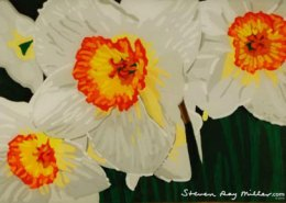 Daffodils original 3-D acrylic painting on glass by Steven Ray Miller Durham NC artist