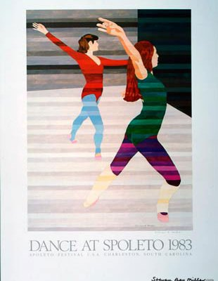 Dance at Spoleto 1983 limited edition lithograph by Steven ray Miller Durham NC artist