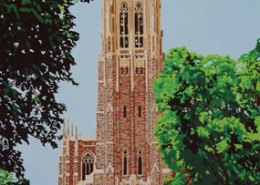 Duke Chapel limited edition lithograph by Steven Ray Miller Durham NC artist