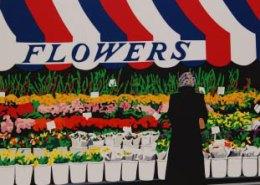 Flower Stand limited edition serigraph silkscreen by Steven Ray Miller Durham NC artist