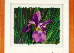 Iris original 3-D acrylic painting on glass by Steven Ray Miller Durham NC artist