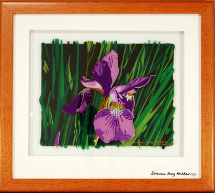 Iris original 3-D acrylic painting on glass by Steven Ray Miller Durham NC artist