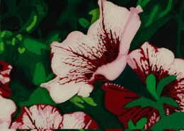 Petunias original 3-D acrylic painting on glass by Steven Ray Miller Durham NC artist