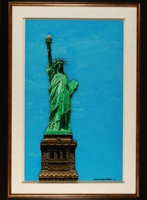 Statue of Liberty original 3-D acrylic painting on glass by Steven Ray Miller Durham NC artist