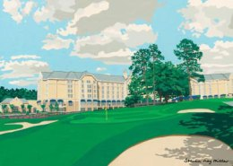 Washington Duke Inn & Golf Club limited edition lithograph by Steven Ray Miller Durham NC artist