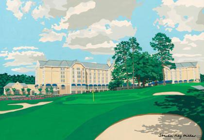 Washington Duke Inn & Golf Club limited edition lithograph by Steven Ray Miller Durham NC artist