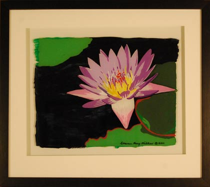Waterlily original 3-D acrylic painting on glass by Steven Ray Miller Durham NC artist
