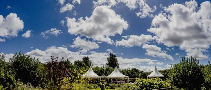 the tents for the weddingf service in the herb garden, kent wedding photography