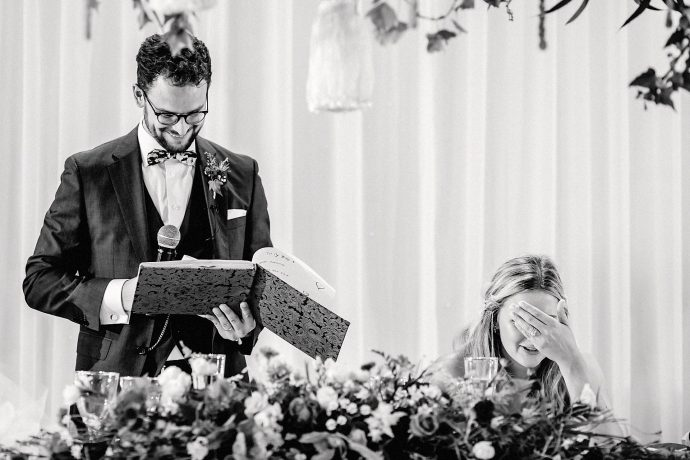 the bride can't believe it, reaction to a book the groom had kept for many years