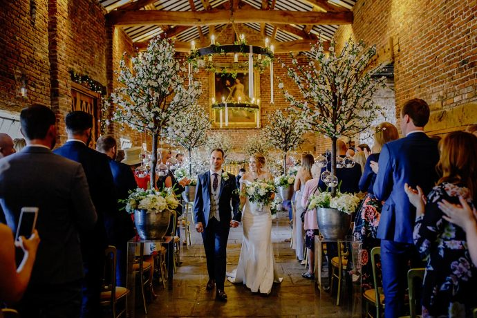 recessional, bride and groom leaving, colour photos