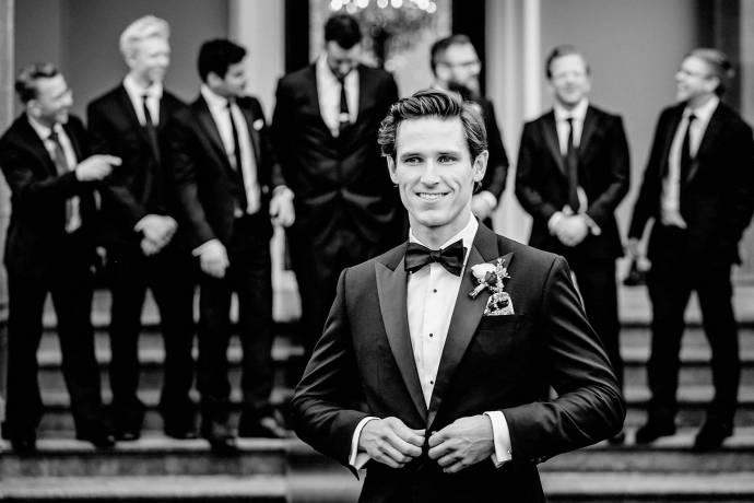 black tie, groom and ushers, groomsmen and best man
