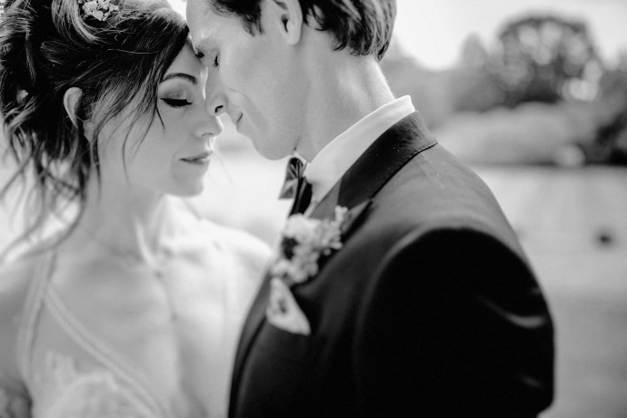 nice portrait of the bride and groom outside