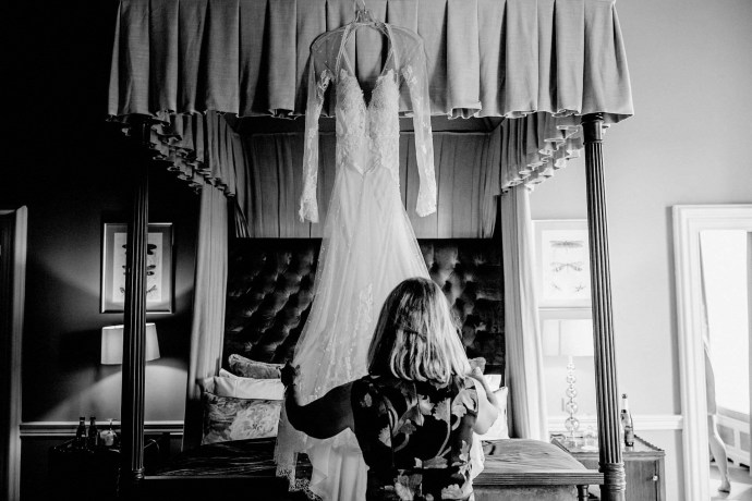 wedding dress, black and white, mother of the groom, bridal suite