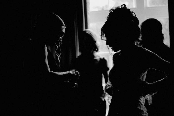 silhouette during bridal preparations