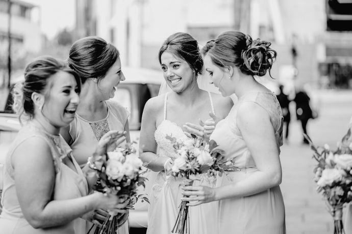 bridesmaids outside the venue
