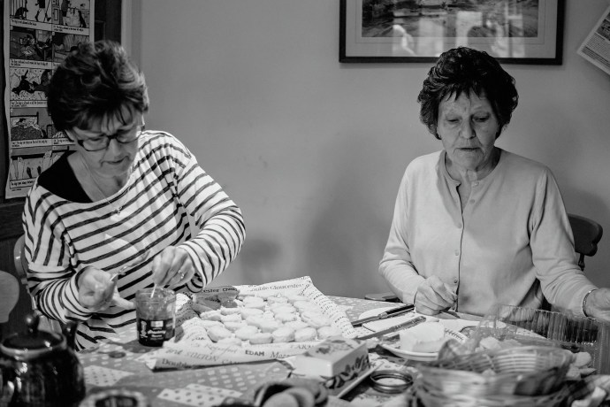 mother and grandmother making scones