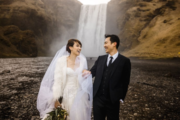 skogafoss, iceland wedding