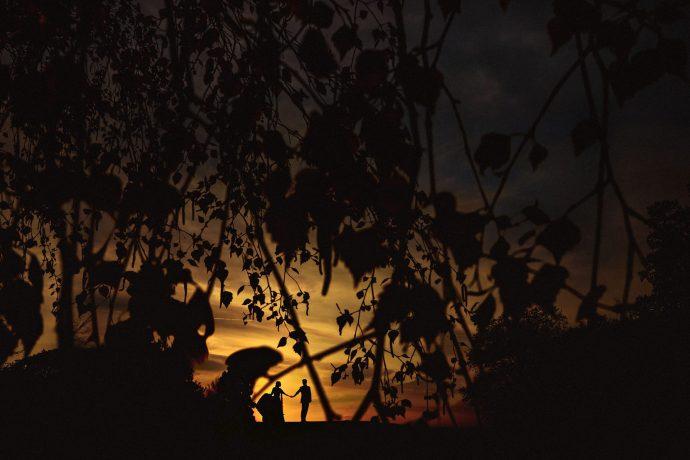 sunset portrait of the bride and groom at stanbrook abbey