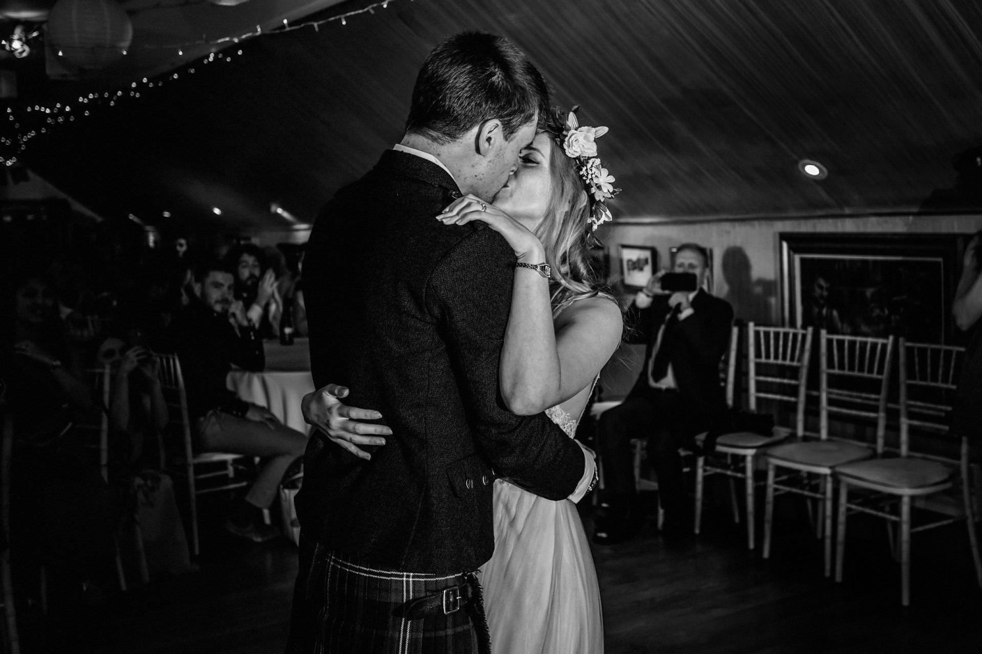 kiss after first dance as man and wife