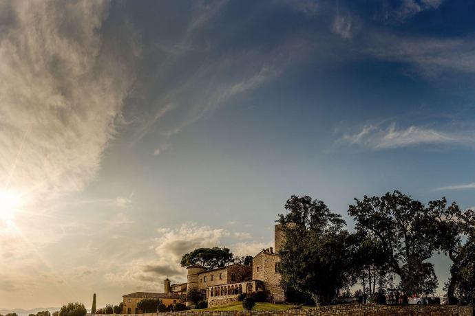 sunset view over chateau de castellaras
