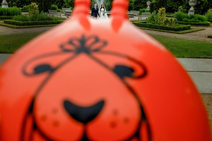 space hopper wedding photo