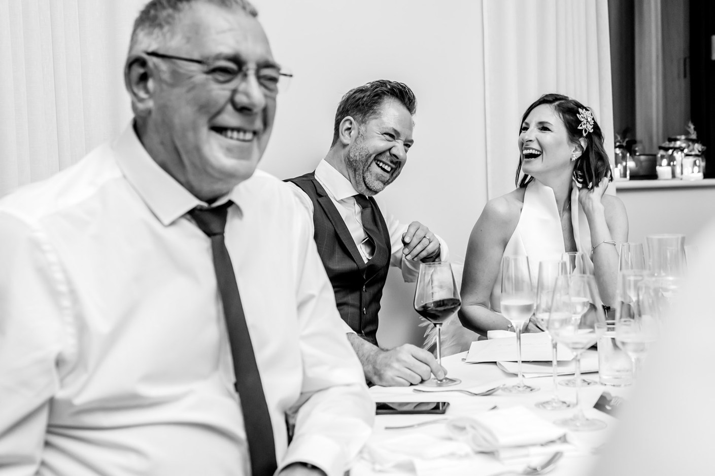 laughing at the speeches