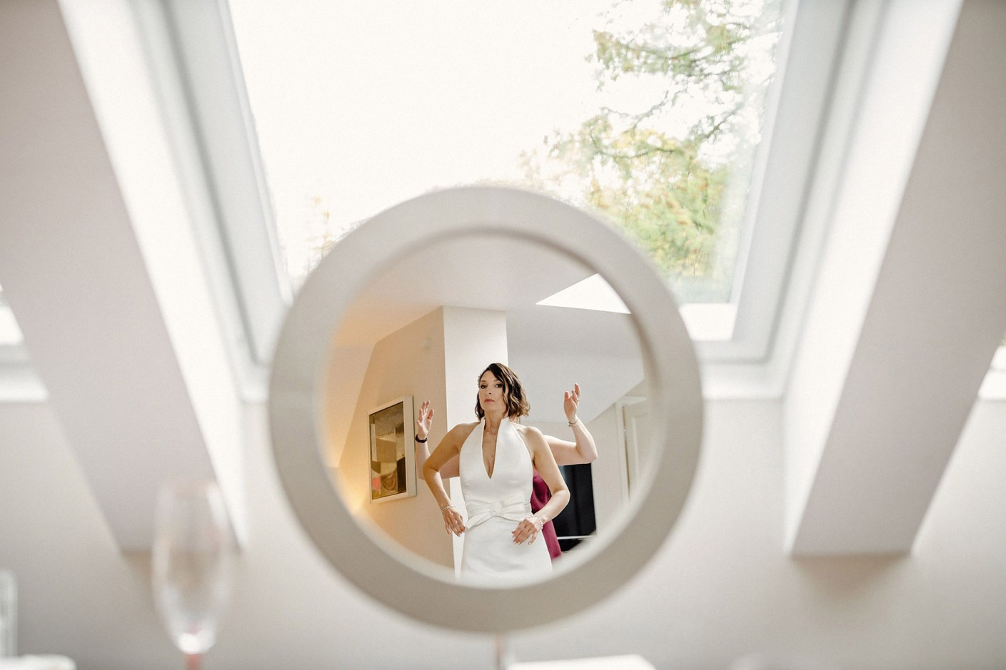 mirror reflection, wedding dress