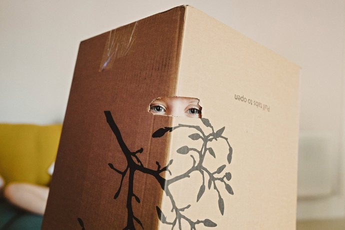cardboard box with child in