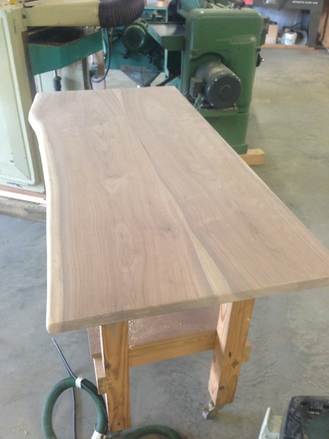 The lower desk top unfinished