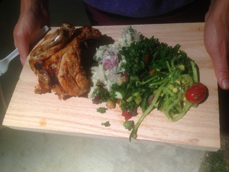 Our delicious meal for the night served on slabs of wood.