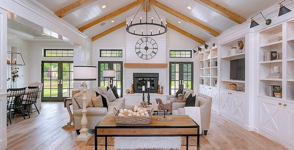 Dramatic Modern Farmhouse With Stunning White and Black ...