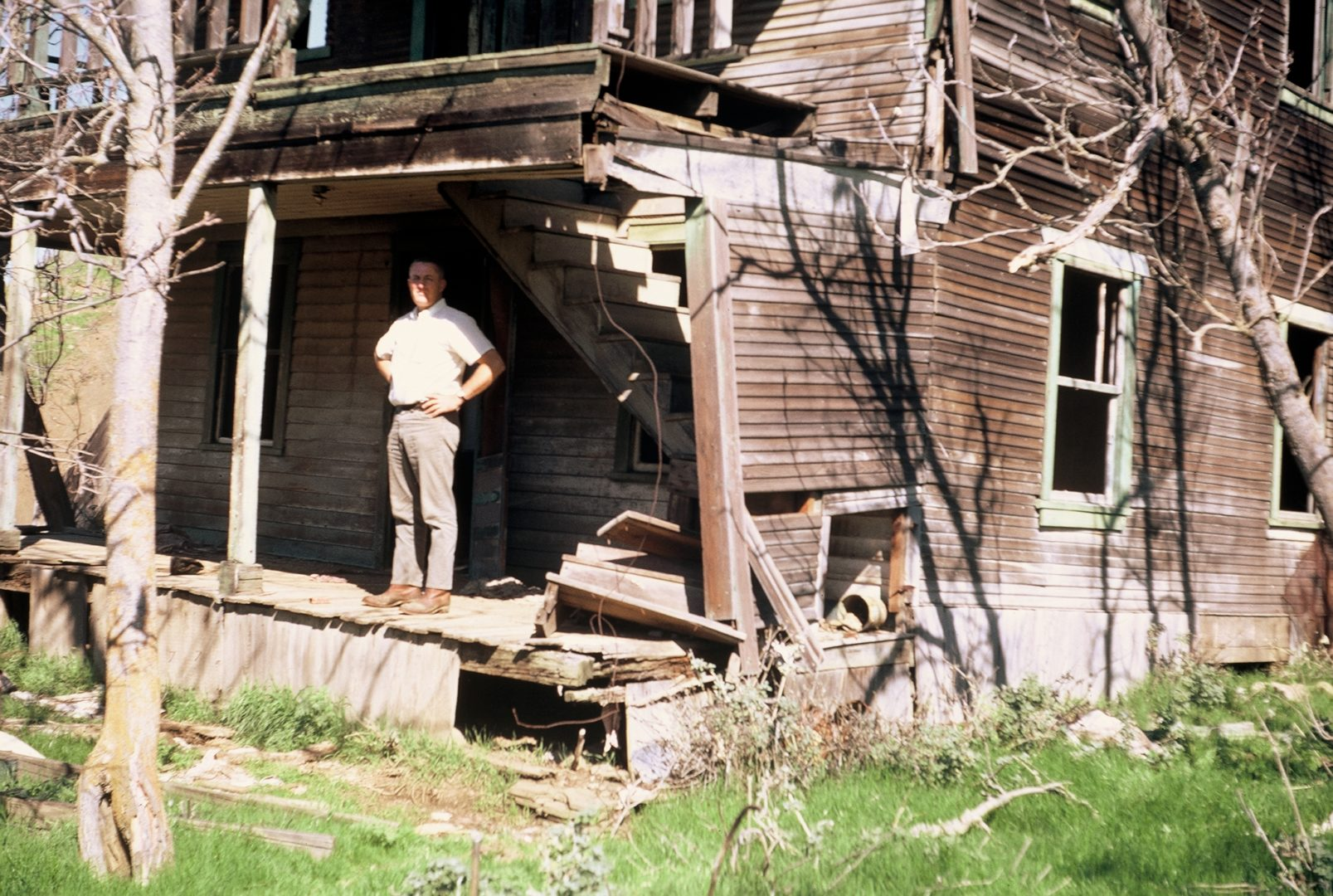 Photo of Wally Callan on Newville Hotel porch