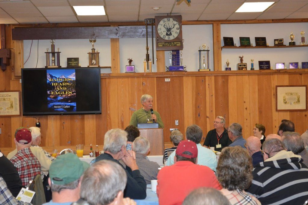 Steven T. Callan speaks about his book Badges, Bears, and Eagles to the Rooster Tails Fishing Club of Northern California