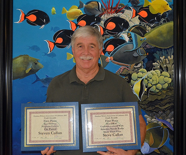 """Award-winning author Steven T. Callan with his 2015 """"Best Outdoor Magazine Column"""" and """"Best Conference-Related Work"""" awards from the Outdoor Writers Association of California"""