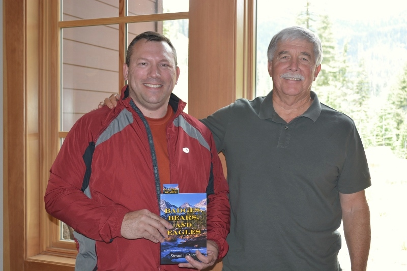 Author Steven T. Callan at the Lassen Volcanic National Park book signing for Badges, Bears, and Eagles