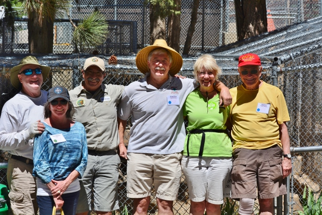 The OWAC gang at Big Bear Alpine Zoo: left to right, Outdoor Writers Association of California President Bob Semerau, Chris Semerau, Big Bear Alpine Zoo Curator Bob Cisneros, Steve Callan, Kathy Callan, and Dave Lite. Photo by Maureen Lite