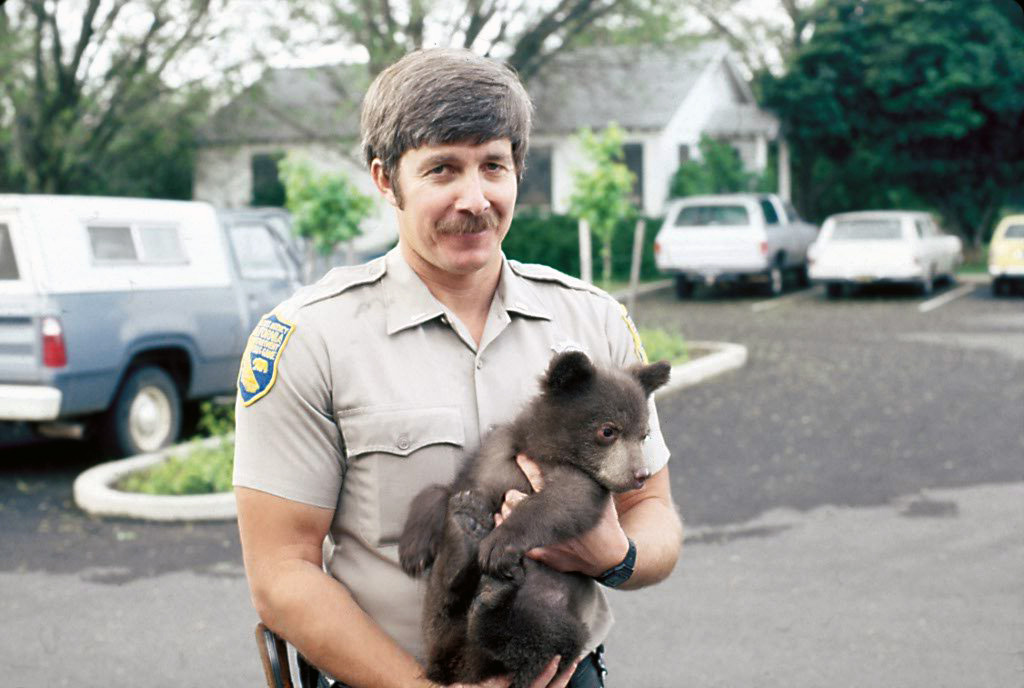 Author Steven T. Callan with one of three orphaned black bear cubs, circa 1981