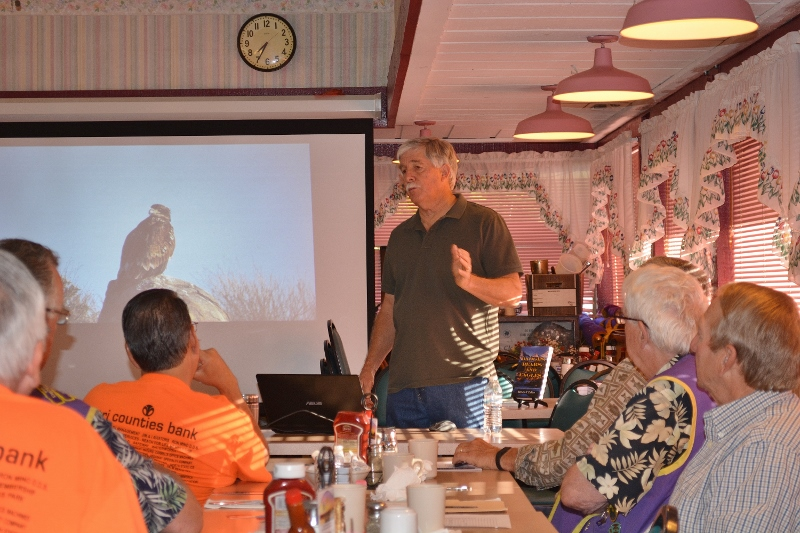 Author Steven T. Callan speaks to the Enterprise Lions Club about Badges, Bears, and Eagles.