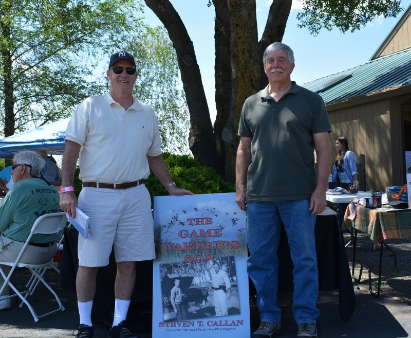 Author Steven T. Callan and friend at The Fly Shop book signing for his new book, THE GAME WARDEN'S SON