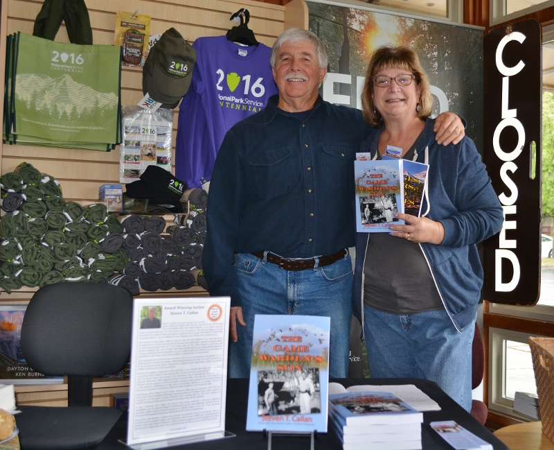 Author Steven T. Callan and friend at the Whiskeytown National Recreation Area book signing for his new book, THE GAME WARDEN'S SON