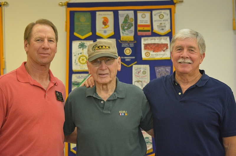 Red Bluff Rotary President Tom Amundson; his father, Roy; and author Steven T. Callan