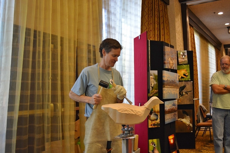 Mike Peters carves a brant at the Pacific Flyway Decoy Association Wildfowl Art Festival