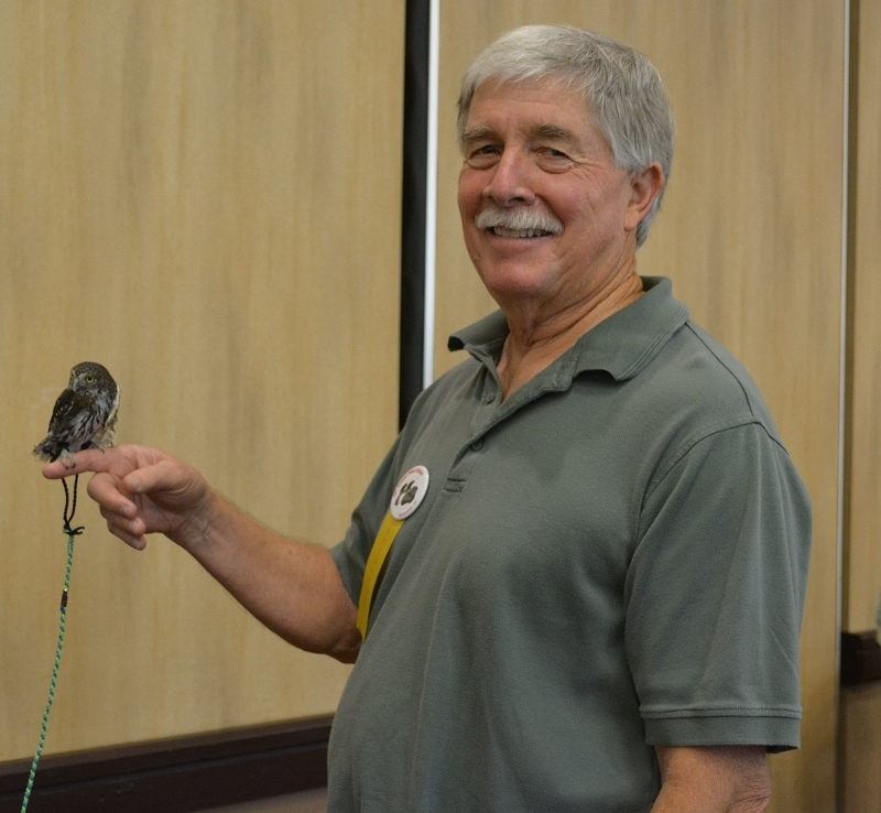 Author Steven T. Callan and Mr. Whoo-Dini, a northern pygmy owl, at the Pacific Flyway Decoy Association Wildfowl Art Festival